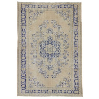 Vintage Beige & Blue Turkish Oushak Rug - 7′3″ × 10′4″