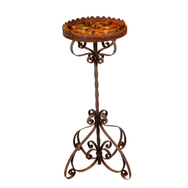 Antique French Cathedral Iron Floor Candle Holder - Image 1 of 2