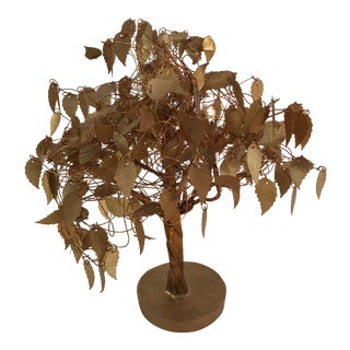 Mid-Century Gold Leaf Wire Tree