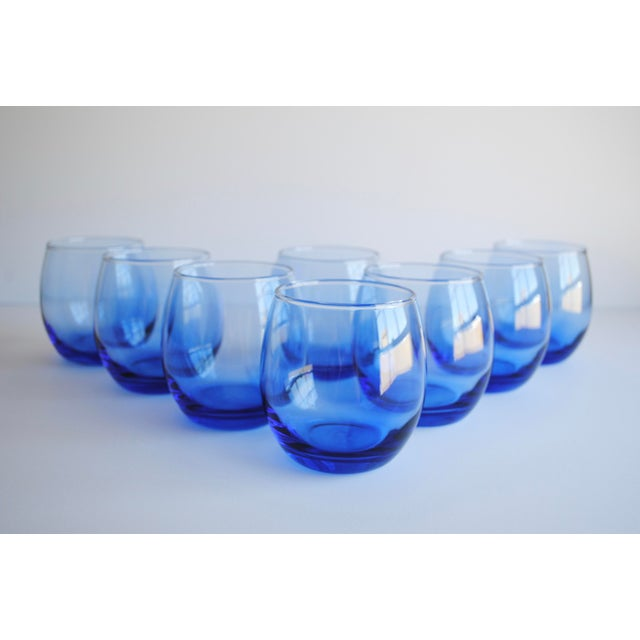 Blue Roly Poly Glasses, Set of 8 - Image 3 of 5