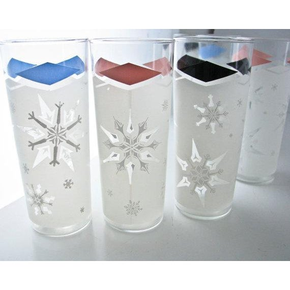 Image of Mid-Century Snowflake Drinking Glasses - 6