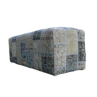 Vintage Turkish Pale Blue Patchwork Upholstered Bench
