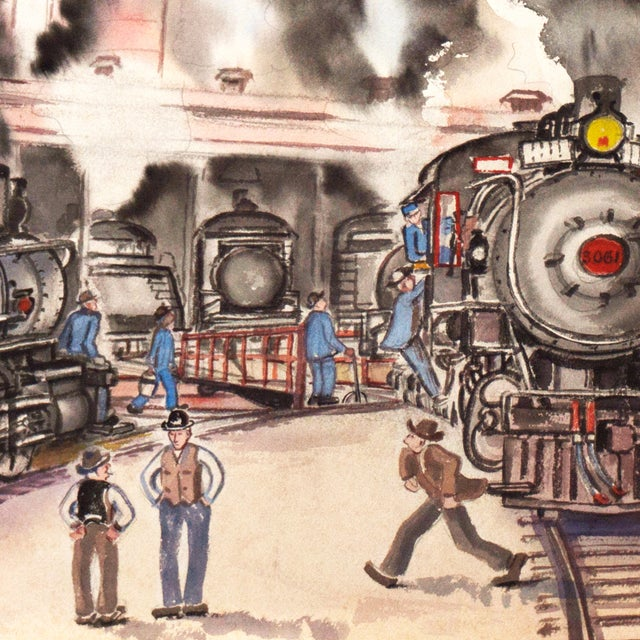 1970s Railway Depot Watercolor Painting - Image 2 of 6