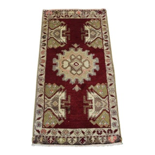 "Traditional Turkish Wool Rug - 3'6"" x 1'8"""