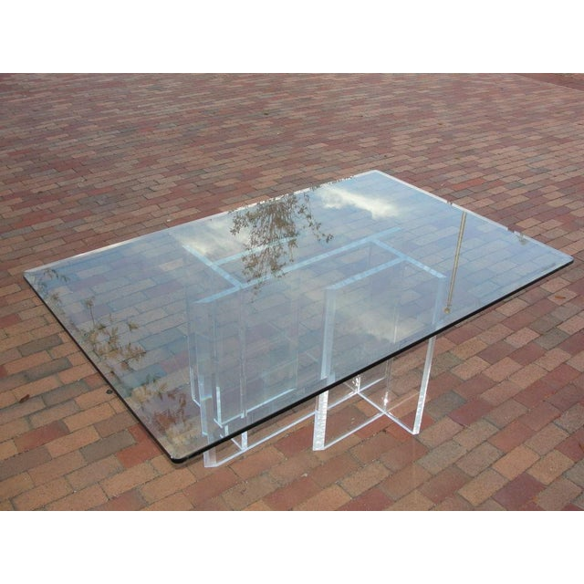 Lucite Base Dining Table/ Desk - Image 4 of 5