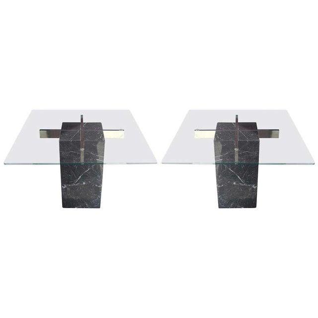 Artedi Italian Marble Pedestal Side Tables - Pair - Image 1 of 7