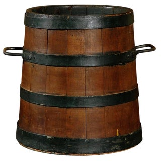 English Wood and Iron Decorative Bucket from the Late 19th Century