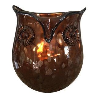 Blenko Style Amber Art Glass Owl Vase
