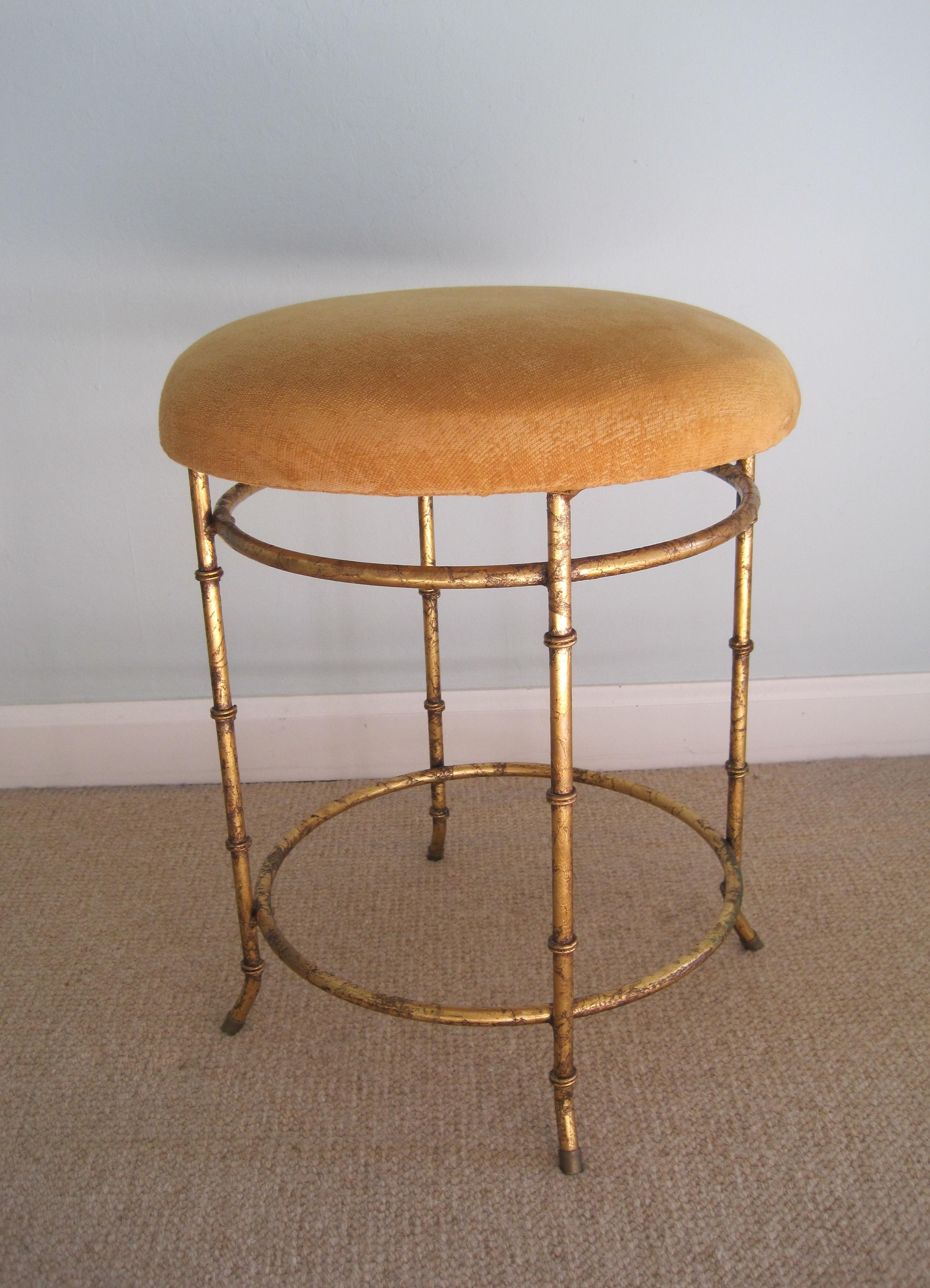 Gilded Metal Faux Bamboo Vanity Stool Chairish