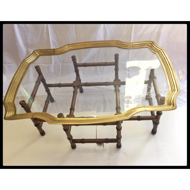Vintage Brass Tray Coffee Table Faux Bamboo Base