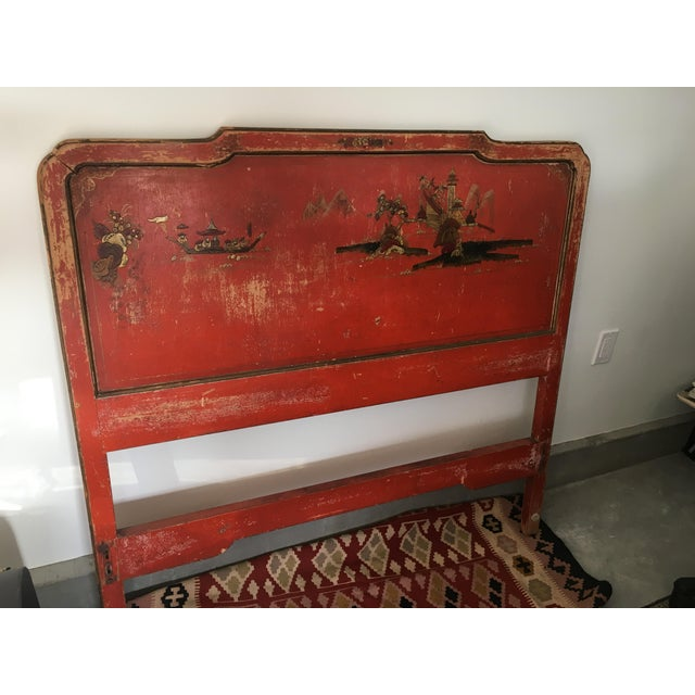 Vintage Chinoiserie Styled Wooden Headboard - Image 6 of 6