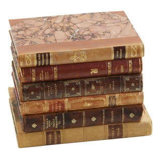 Leather Bound Vintage Books - Set of 6