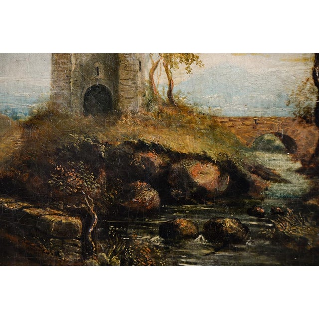 18th-C. Castle Ruins Oil Painting - Image 4 of 9