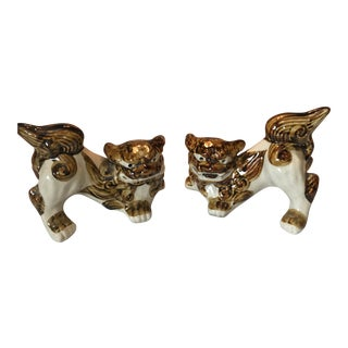 White & Gold Asian Foo Dogs - A Pair