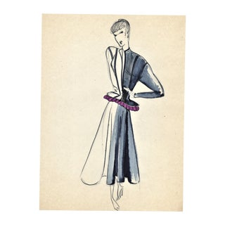 Original French Fashion Drawing