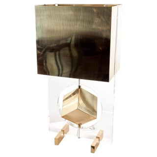 Brass & Lucite Cube Table Lamp