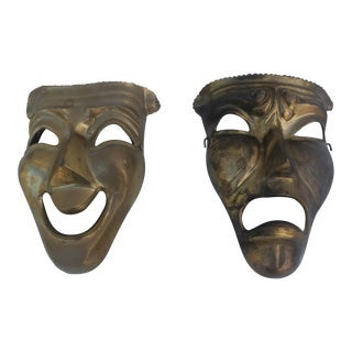 Vintage Comedy & Tragedy Wall Hanging Masks - Pair