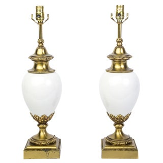 Stiffel White Ceramic & Brass Lamps