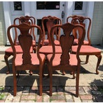 Image of Queen Anne Style Mahogany Dining Chairs - Set of 8
