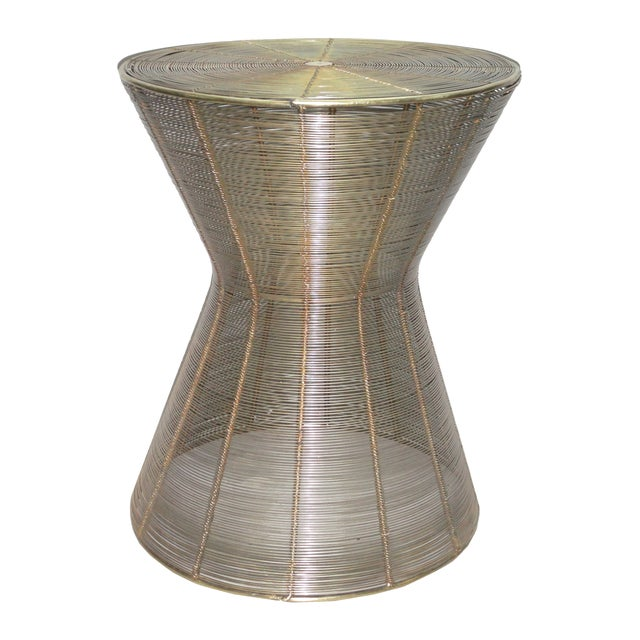 Image of Iron Wire Stool With Antique Brass Finish