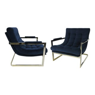Pair of Nickel Frame Scoop Chairs by Milo Baughman