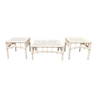 Mid-Century White Rattan Coffee & End Tables - Set of 3