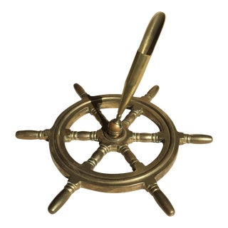 Solid Brass Ships Helm Inkwell Penholder