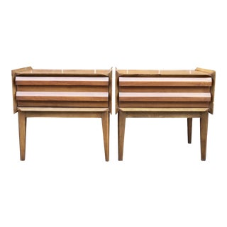 Lane Danish Modern Walnut Night Stands / Side Tables, A Pair