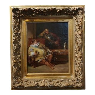18th century Dutch Oil Painting -Interior scene of Two Nobles Drinking