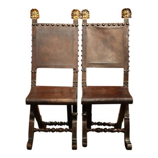 Early 19th Century Spanish Walnut & Leather Folding Chairs - A Pair