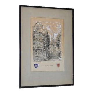 "Oriel Street, Oxford Original Illustration ""Dominus Illuminatio mea"" c.1953"