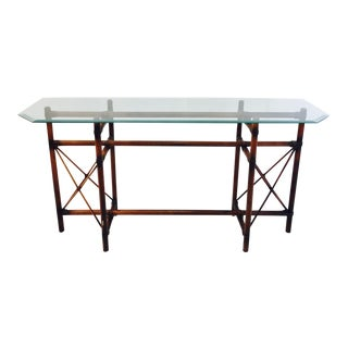 Vintage Rattan & Beveled Glass Console Table