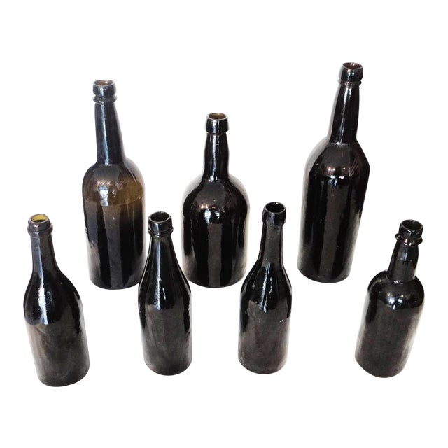 Image of Fantastic Early 19thc Collection of Olive Green Bitters Bottles