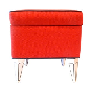 Red Vintage Repurposed Sewing Kit into Ottoman