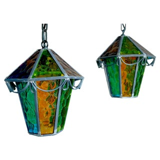 Danish Cast Iron & Multicolor Glass Pendants- Pair