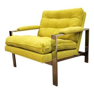 Mid-Century Danish Modern Milo Baughman Thayer Coggin Chrome Cube Lounge Chair