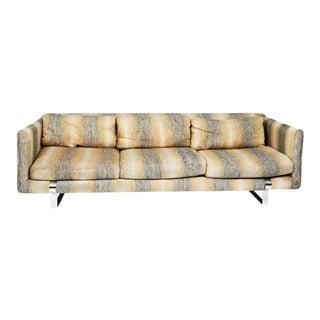 Vintage Modern Chrome and Upholstered Sofa