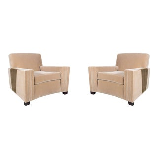 Pair of Art Deco Club Chairs with Inset Deco Fan Design