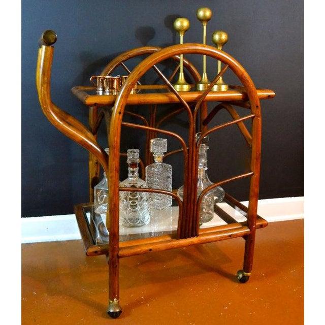 Hollywood Regency Rattan Rolling Drink Cart - Image 3 of 6