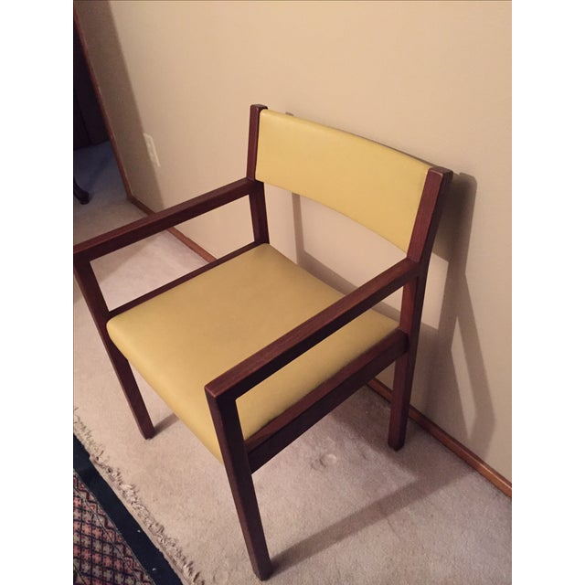 Mid-Century Danish Modern Vinyl And Walnut Chair - Image 5 of 5