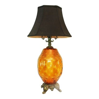 Large Mid-Century Amber Glass Table Lamp and Shade