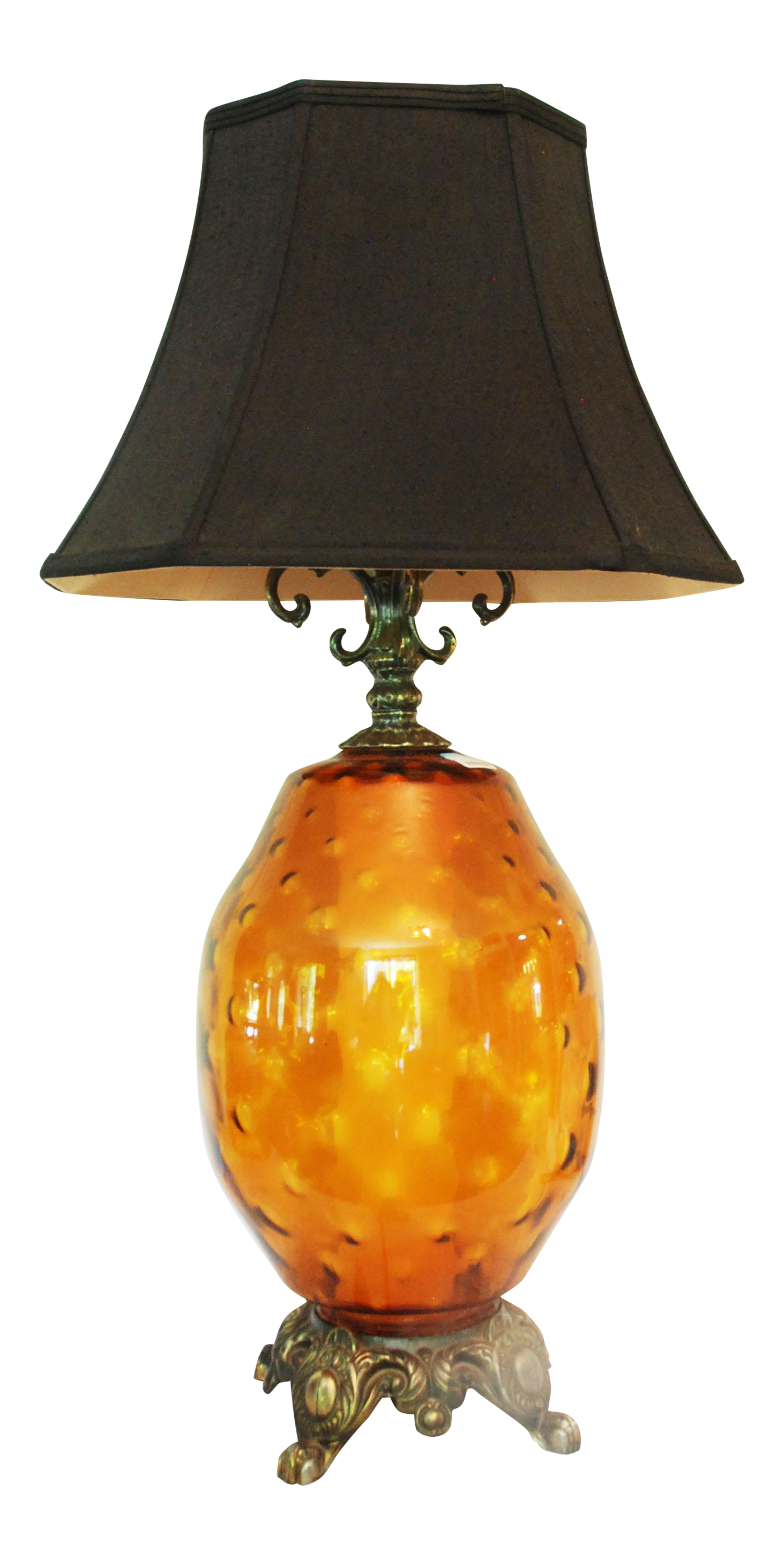 Large Mid Century Amber Glass Table Lamp And Shade