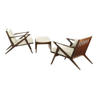 "Poul Jensen for Selig Danish Modern ""Z"" Lounge Chairs & Ottoman - Set of 3"