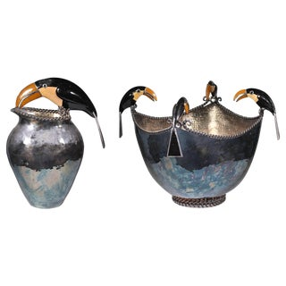 Silver Plated Mexican Toucan Punch Bowl - Pair