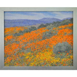Oil Painting on Canvas California Poppy Landscape