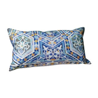 Tiles IV Blue Silk Pillow