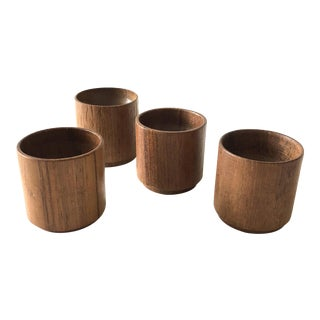 Vintage Wooden Egg Cups from Thailand - Set of 4