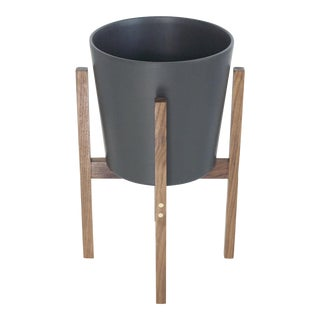 Mid-Century Modern Matte Black Ceramic Planter With Solid Walnut Planter Stand