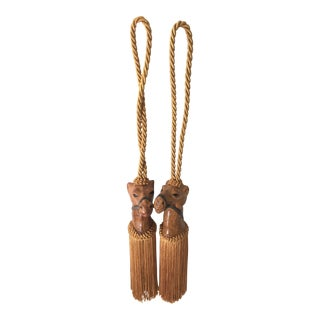 Leather Camel Curtain Tiebacks - A Pair