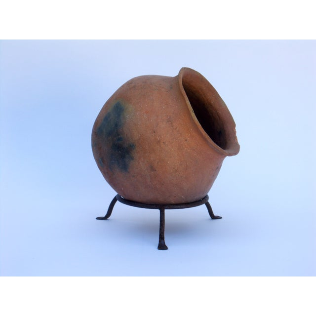 Image of Clay Pot Planter & Metal Stand
